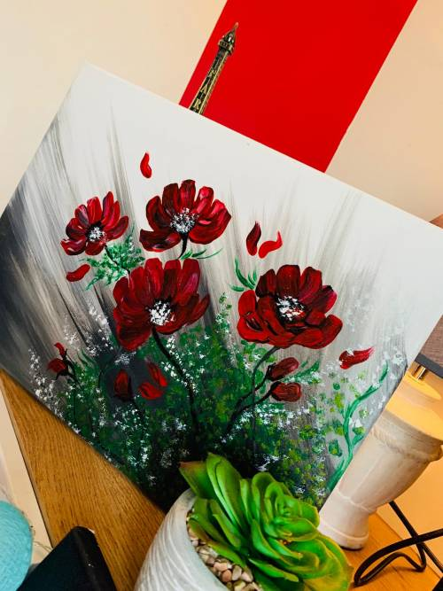 TABLOU PICTAT MANUAL-RED FLOWERS-IMG-1