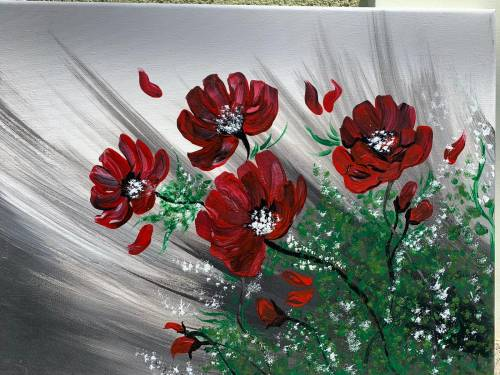 TABLOU PICTAT MANUAL-RED FLOWERS-IMG-2